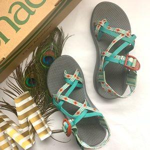*Chacos - Beautiful Aqua Aztec Sandals*